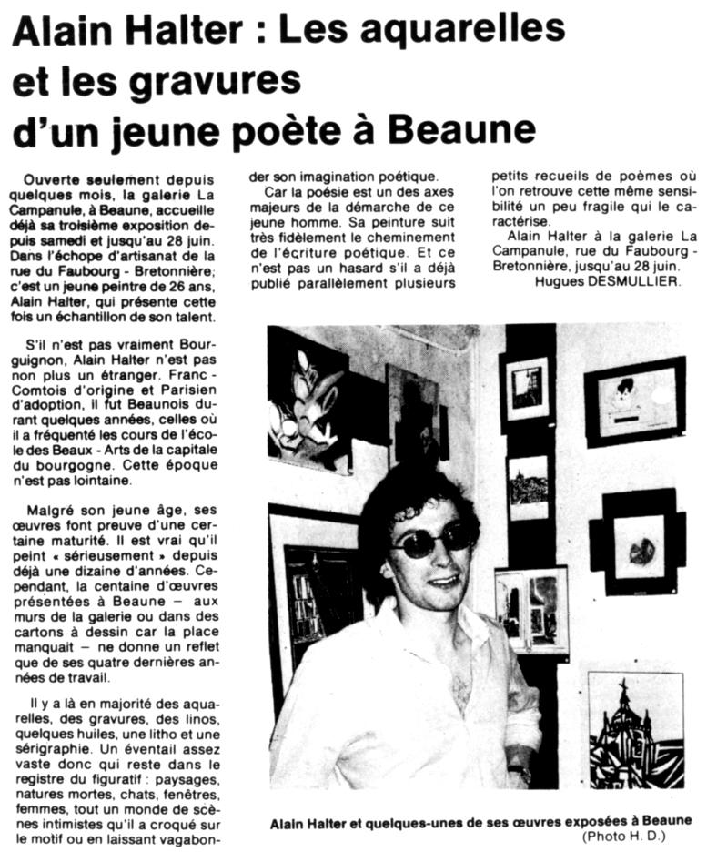 Galerie La Campanule, Beaune, juin 1980