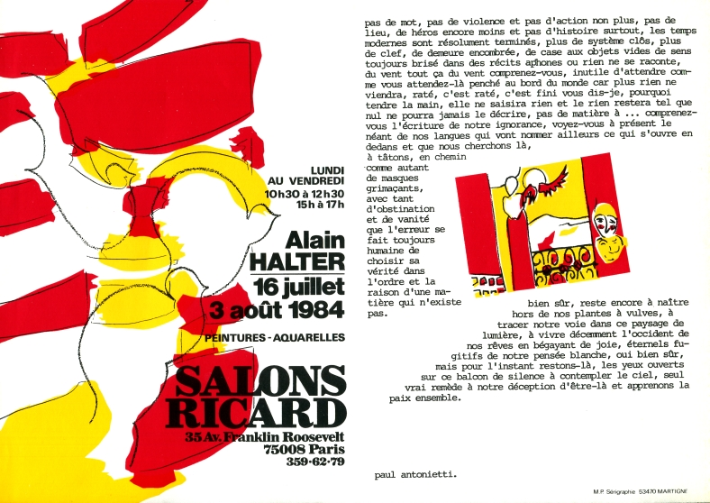 Salons Ricard, Paris, juillet-août 1984