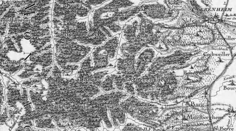 Carte de Cassini de 1740, feuille de Colmar n° 163