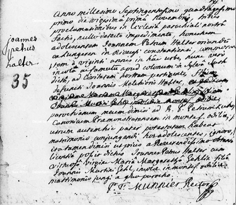 Obernai - Registres Paroissiaux (Avant 1793) - Registre de mariages 1728-1764 - N°35