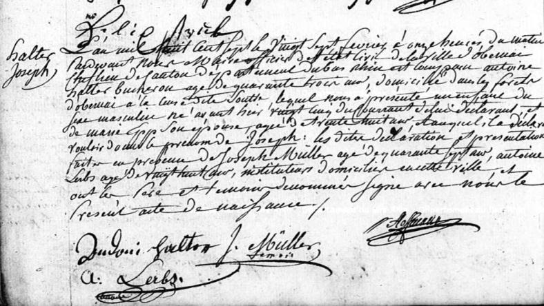 Acte de naissance d'Halter Joseph né le 25 février 1807 dans les forêts d'Obernai.