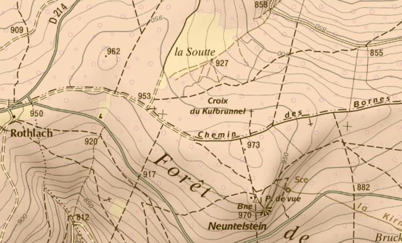 1950, Carte du Chemin des Bornes et de la Soutte