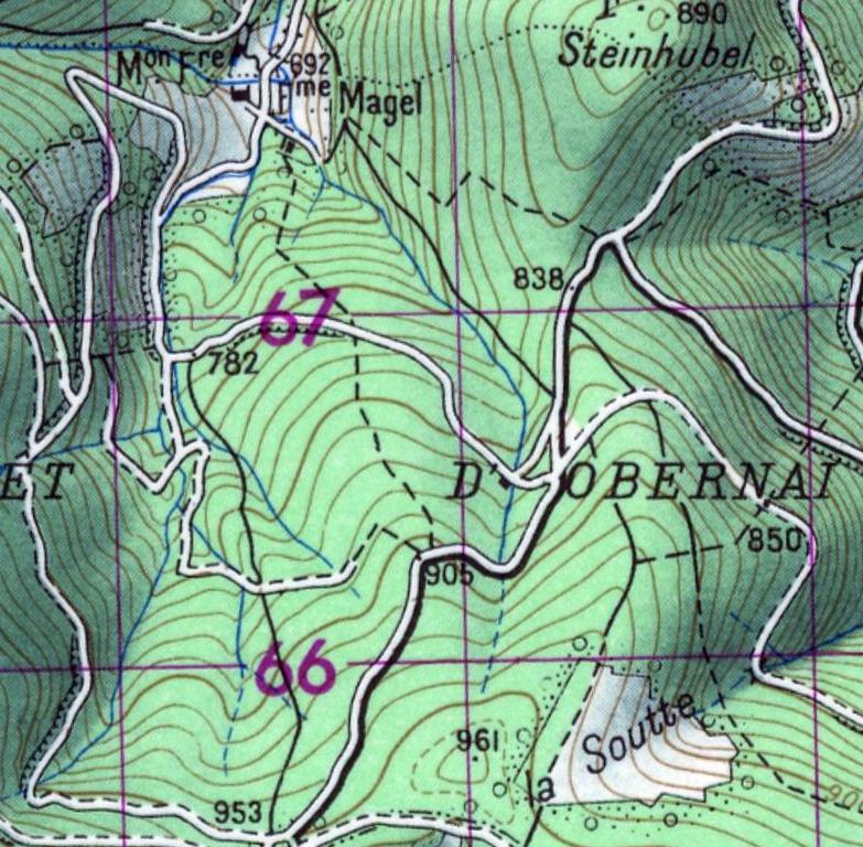 Carte de La Magel en 1950