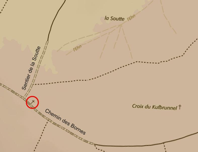 La croix Halter à la croisée du Chemin des Bornes et du sentier traversant la Soutte