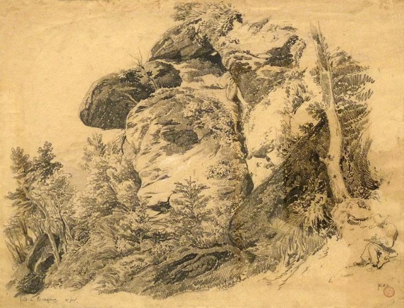 "Gustave Brion, Forêt de Bischoffsheim, ""12e jour"", crayon gras sur papier beige, 1844, Cabinet des estampes et des dessins de Strasbourg."