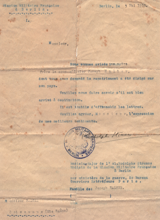 Lettre de rapatriement du 3 mai 1919