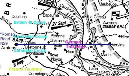 Carte des offensives alliées 18 juillet au 11 novembre 1918
