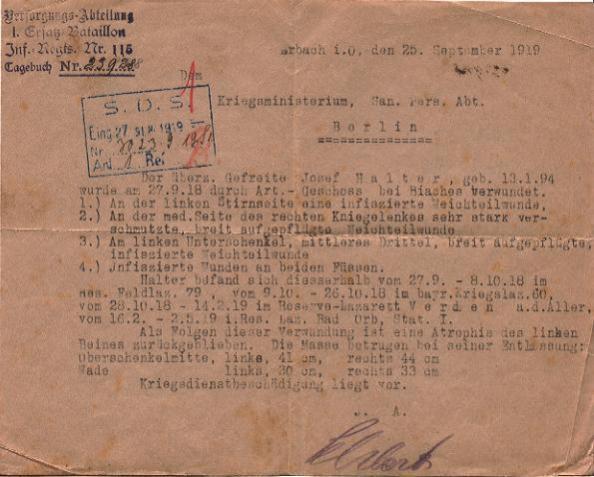 Certificat de blessé de guerre du 25 septembre 1991