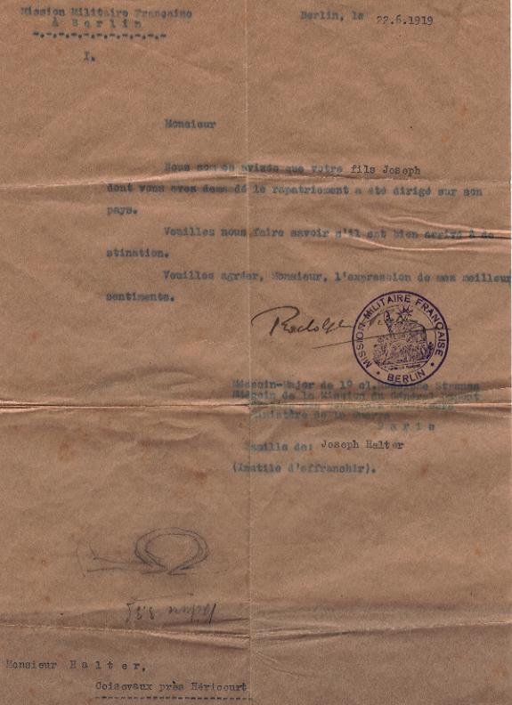 Lettre de rapatriement du 22 juin 1919