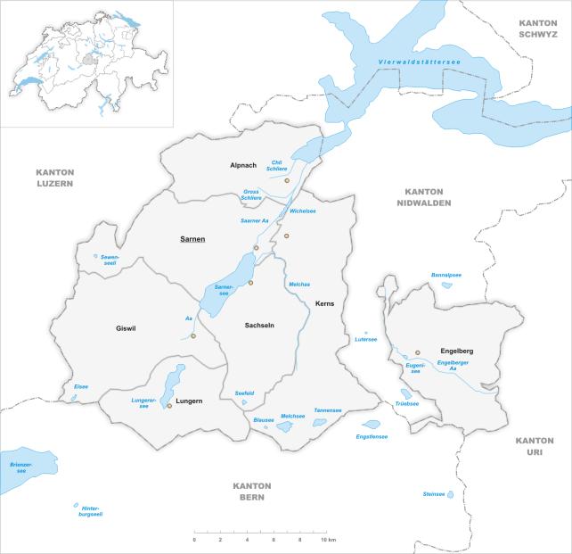 Municipalités du canton d'Obwald.